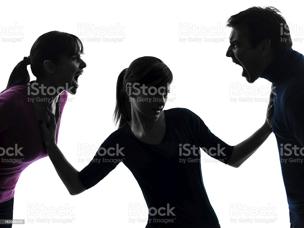 family father mother daughter dispute screaming silhouette stock photo
