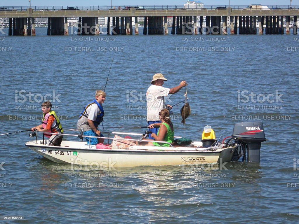 Family Fishing for Flounder stock photo