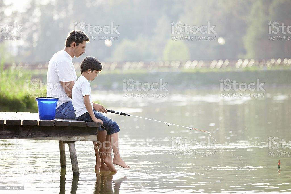 Family fishing royalty-free stock photo