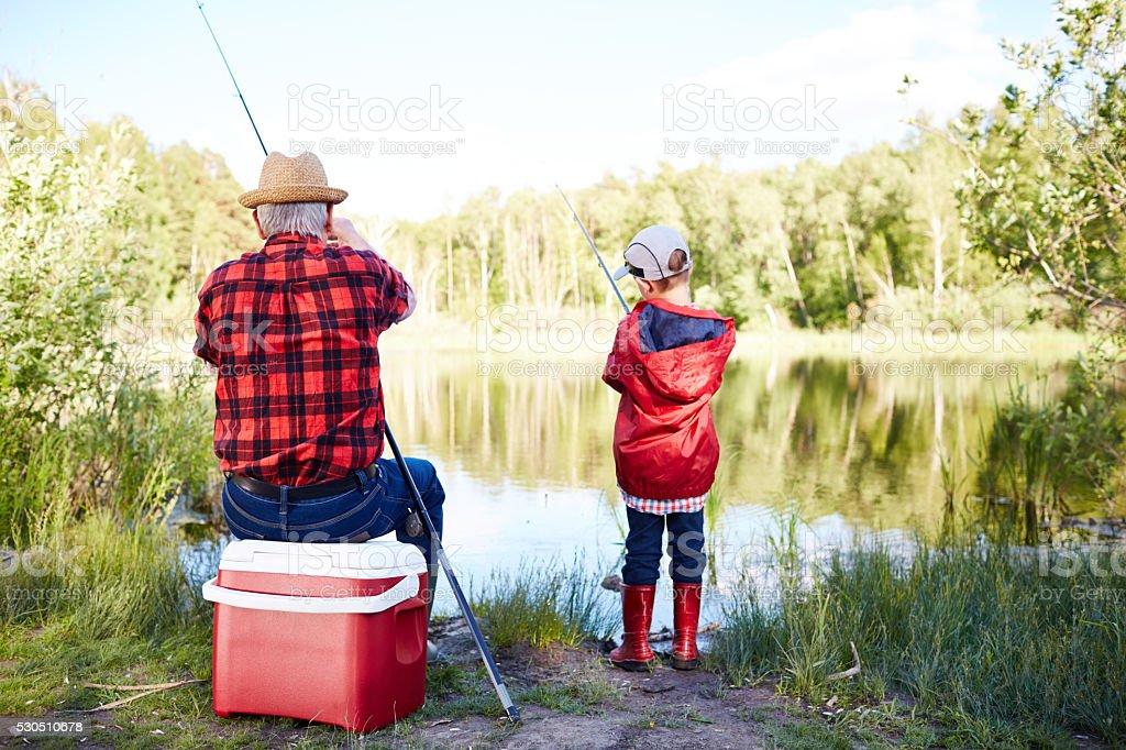 Family fishing stock photo