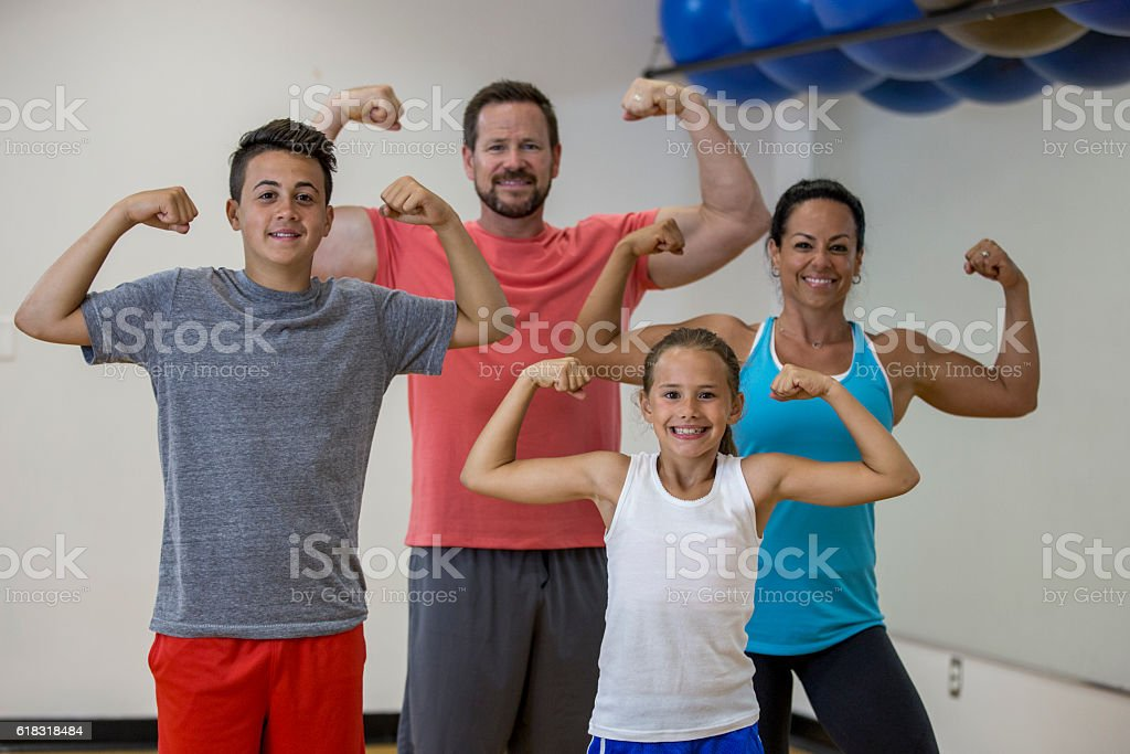 Family Flexing Together stock photo