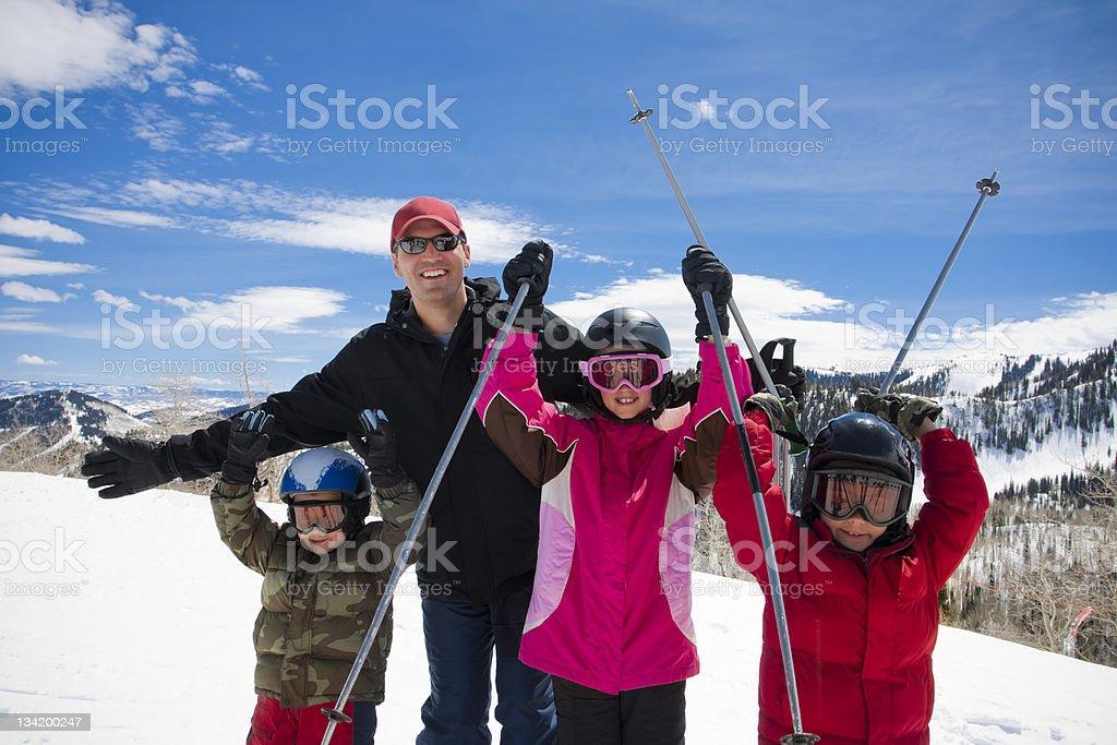 Family Fun at a Ski Resort royalty-free stock photo