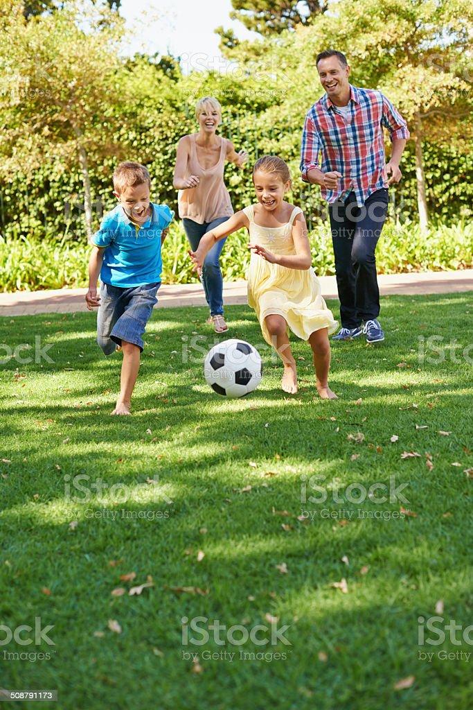 Family fun at the park stock photo