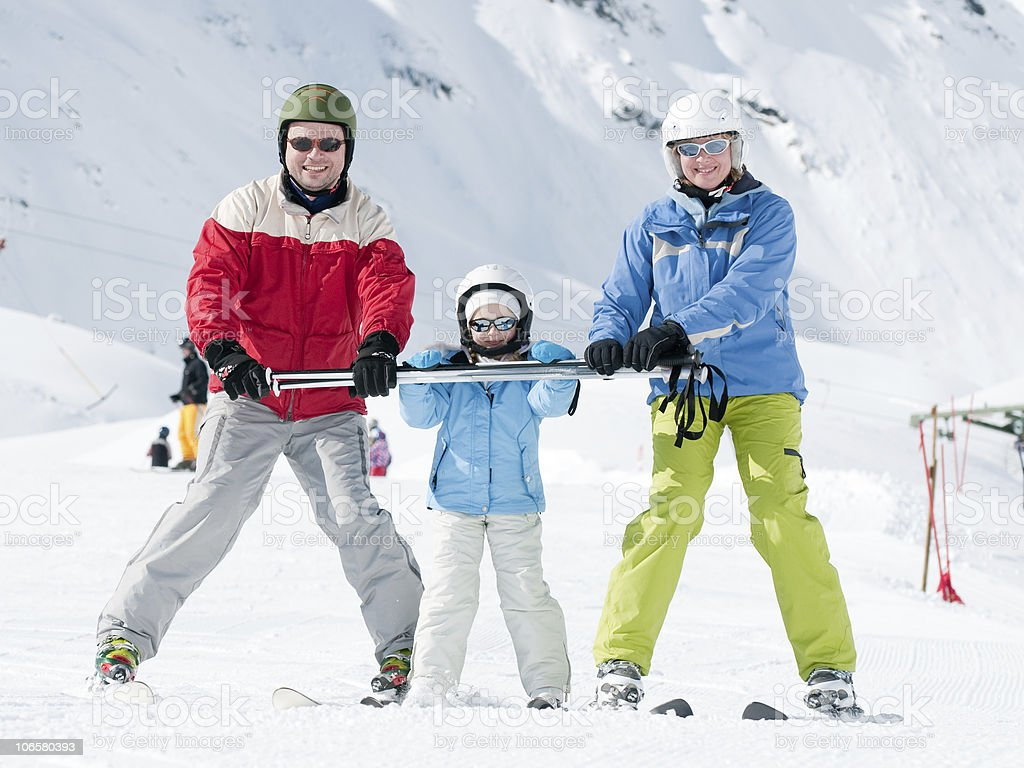 Family fun in snow royalty-free stock photo