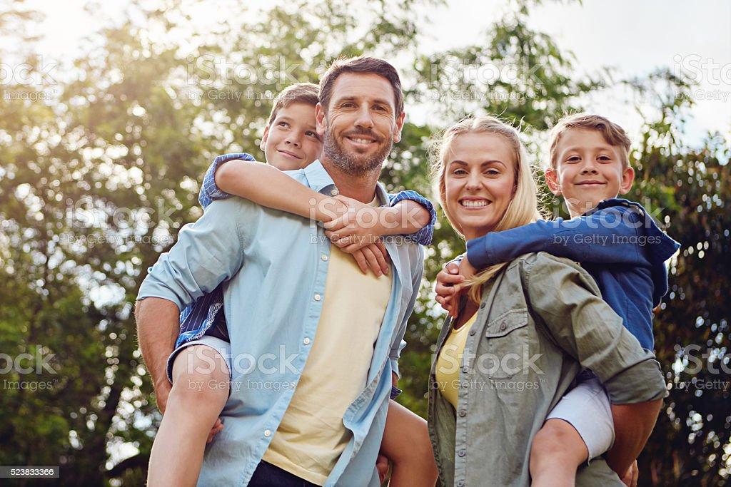 Family fun in the sun stock photo