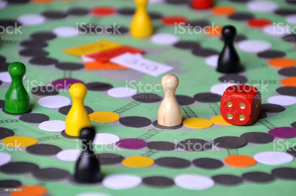 family game evening with self made board-game stock photo