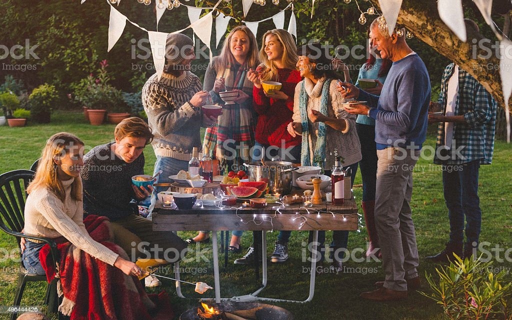 Family Garden Party stock photo