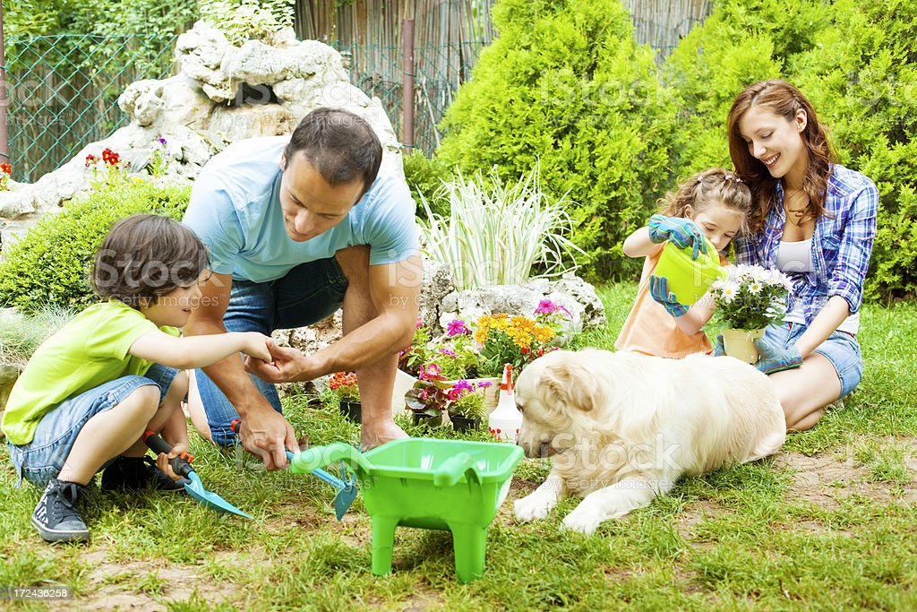 Family Gardening Together royalty-free stock photo