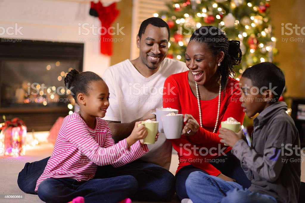 Family Gathered on Christmas Morning stock photo