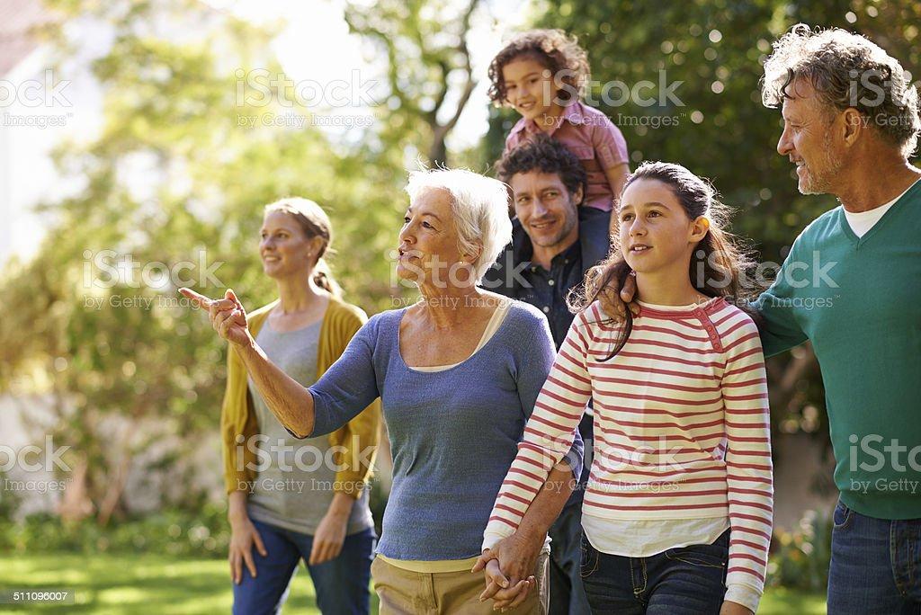Family gathering stock photo