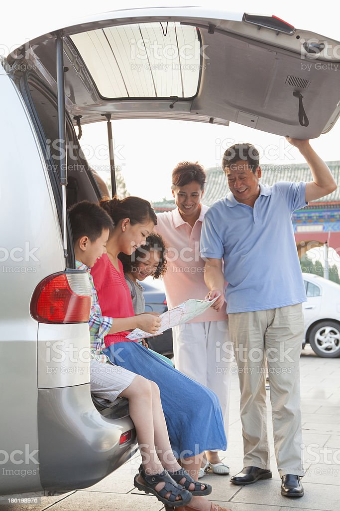 Family getting ready for a trip royalty-free stock photo