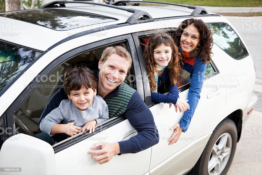 Family going on road trip stock photo