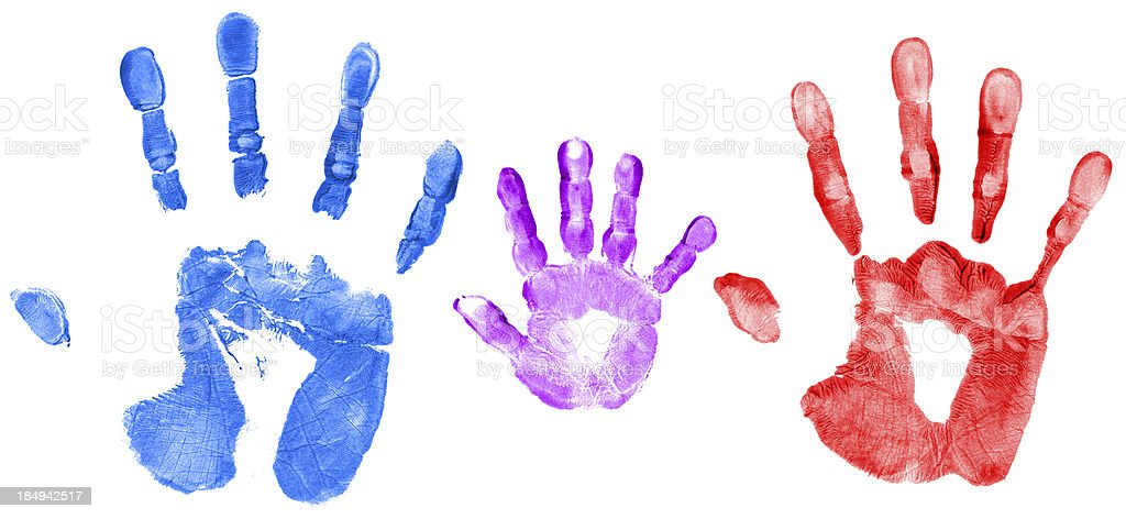 Family Hand Prints stock photo