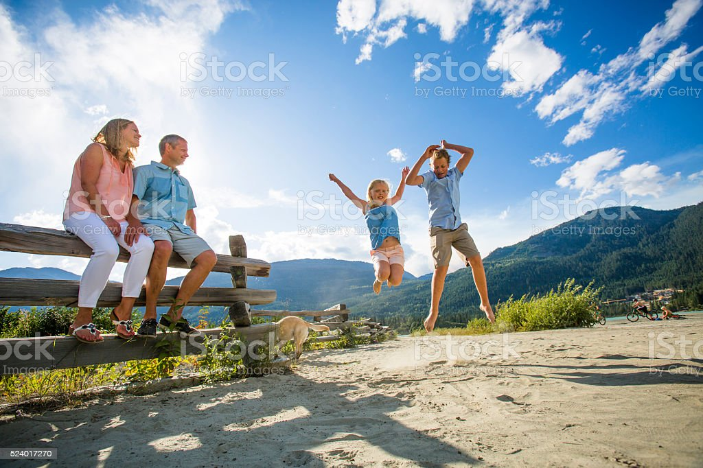Family hanging out on beach. stock photo
