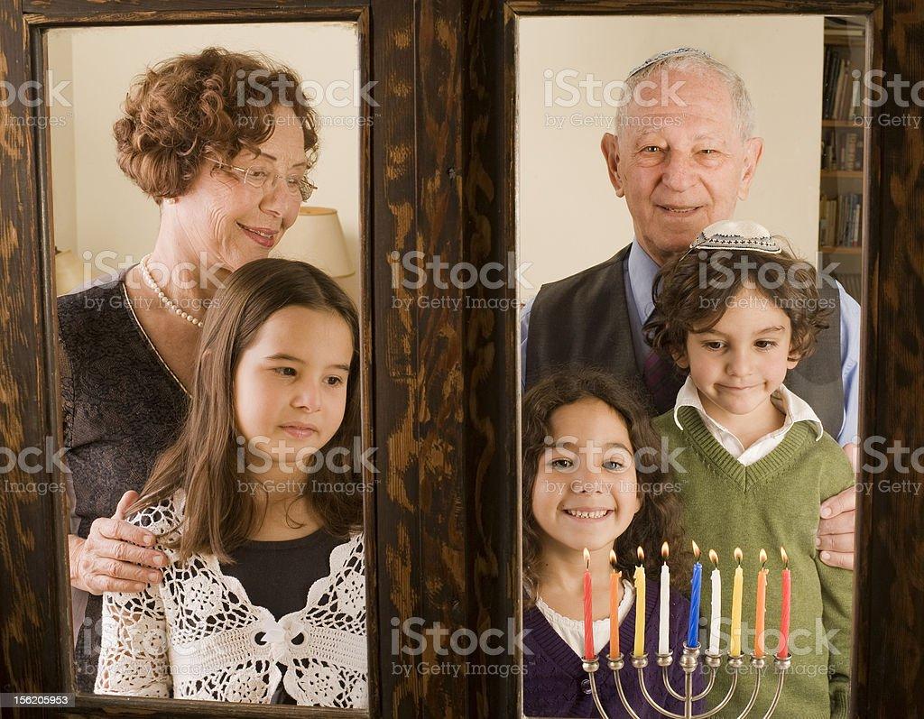 family Hannuka stock photo