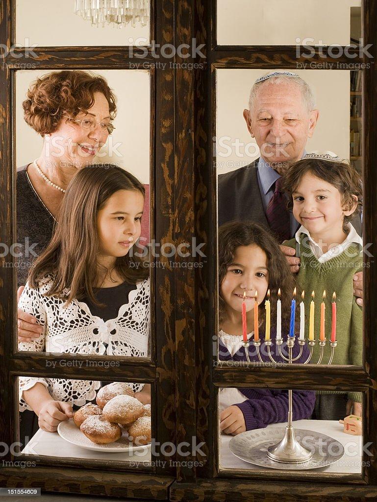 family Hanukka stock photo