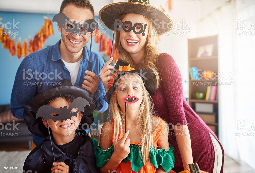 Family has fun in Halloween time stock photo
