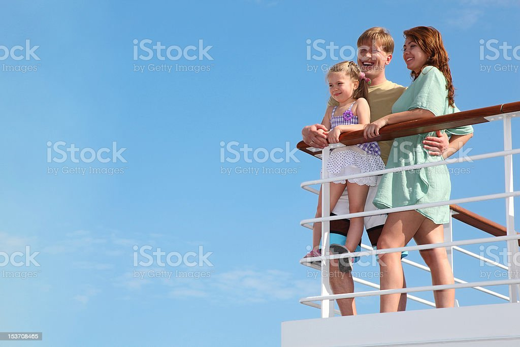 Family has summer leisure in cruise on motor ship royalty-free stock photo