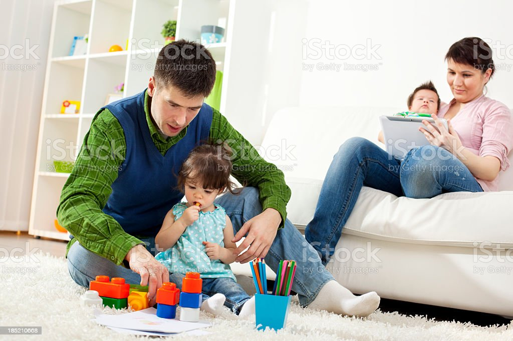 Family Havin Fun Together At Home royalty-free stock photo
