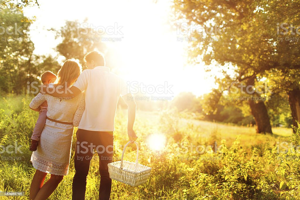 A family having a picnic in a brightly lit field stock photo