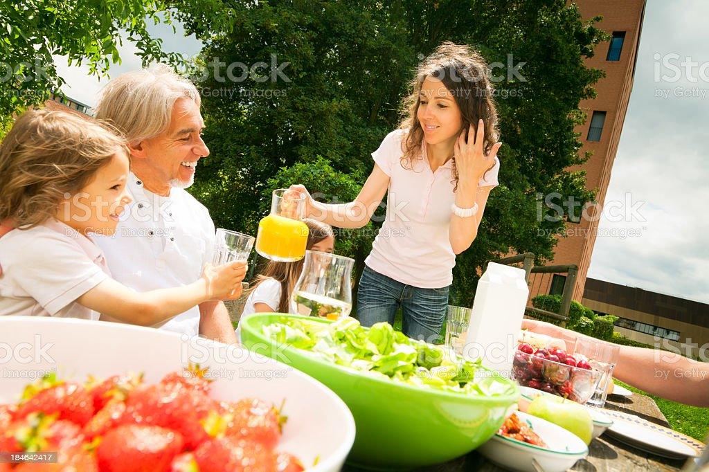 family having a picnic in the garden royalty-free stock photo