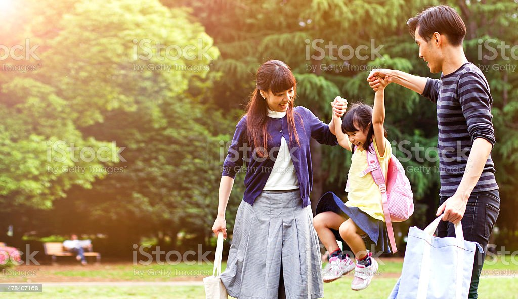 Family having a walk outdoors in summer, Tokyo stock photo
