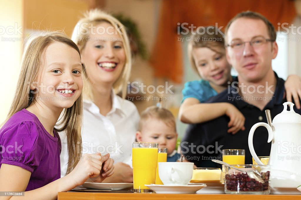 Family having breakfast royalty-free stock photo