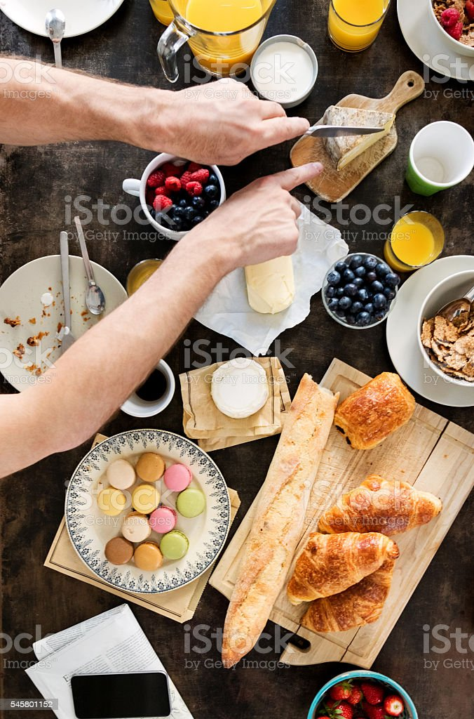 Family Having Breakfast together, Overhead View stock photo