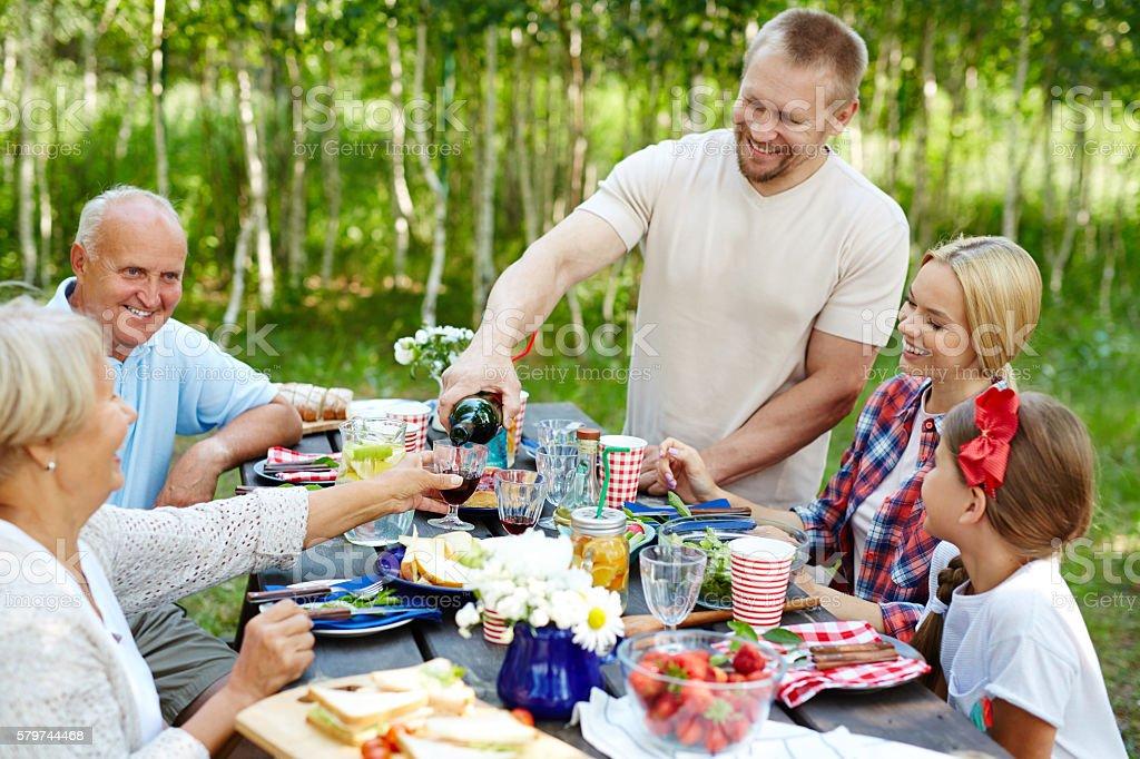 Family having dinner stock photo