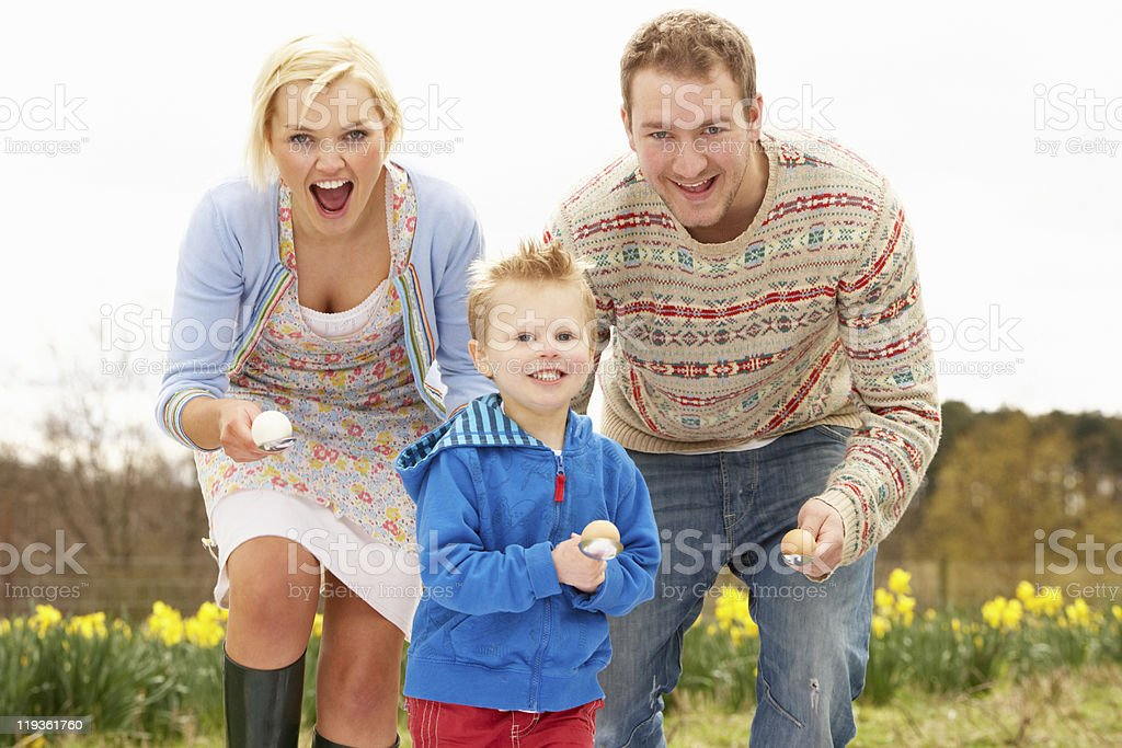 Family Having Egg And Spoon Race royalty-free stock photo