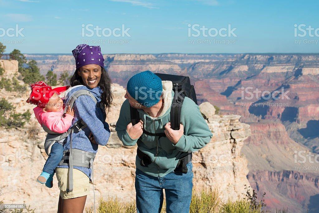 Family having fun at Grand Canyon. stock photo