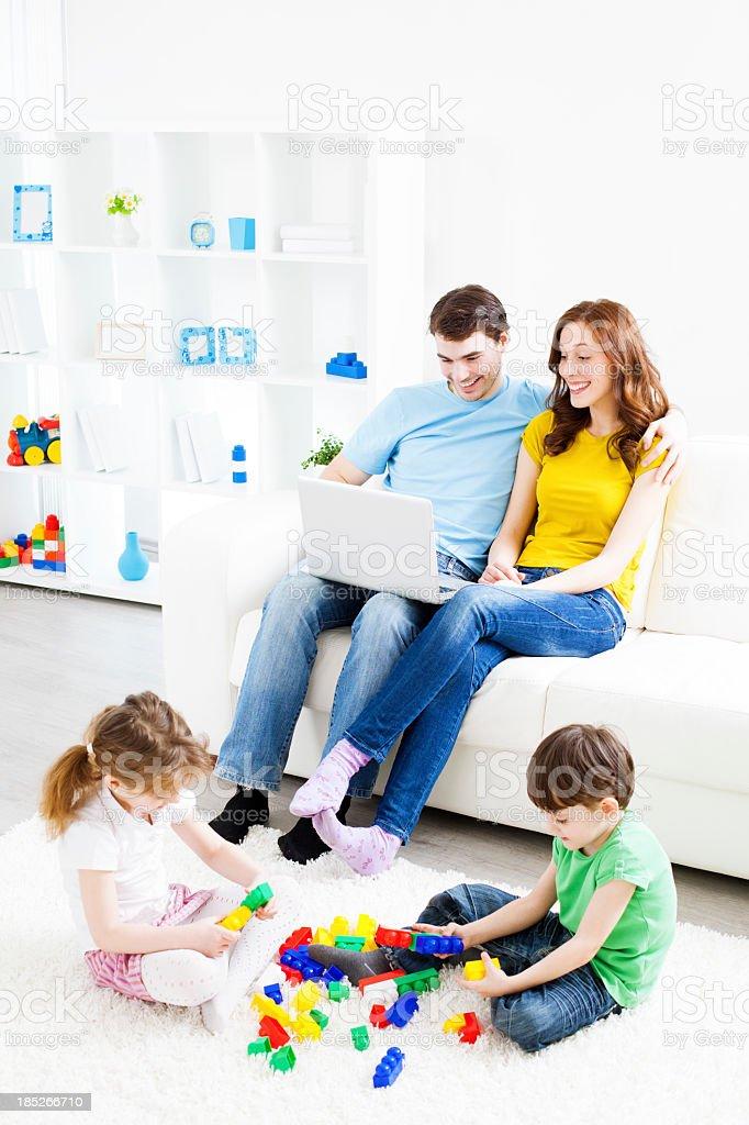 Family Having Fun at home. stock photo