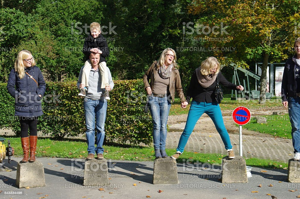 Family having fun in the park stock photo