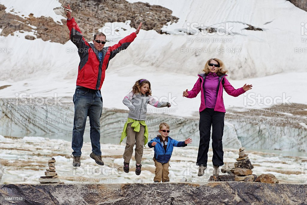 Family having fun near Edith Cavell Glacier stock photo