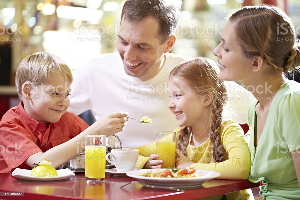 Family having lunch royalty-free stock photo