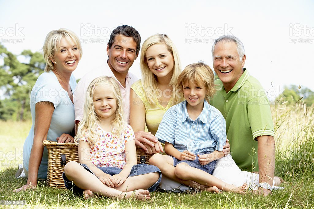 Family having picnic in countryside royalty-free stock photo