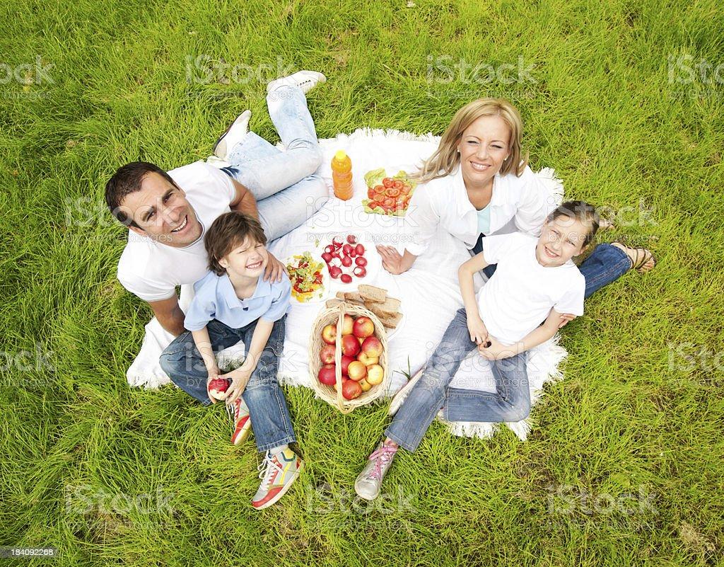 Family having picnic outdoor. royalty-free stock photo