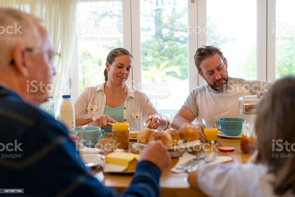 Family having their breakfast stock photo
