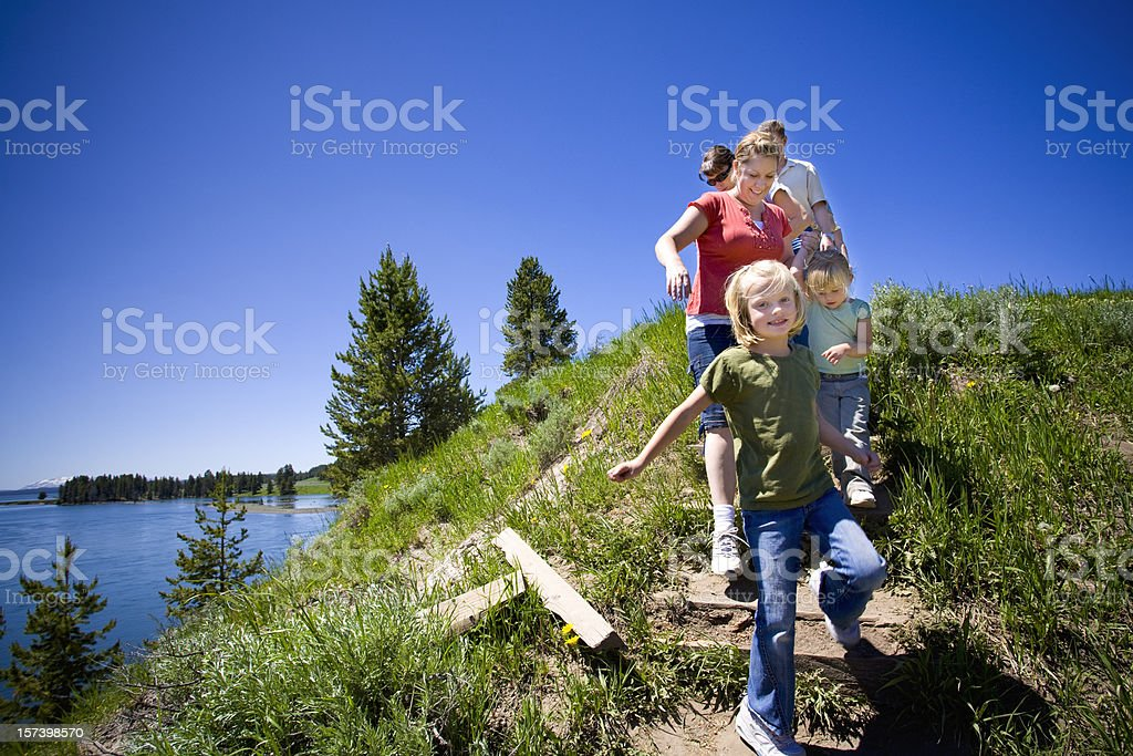 Family Hike by the River, Yellowstone National Park. . stock photo