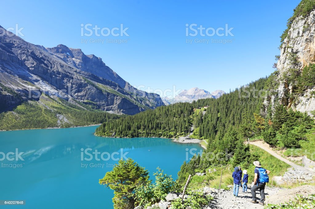 Family Hiking in the Swiss Mountains stock photo