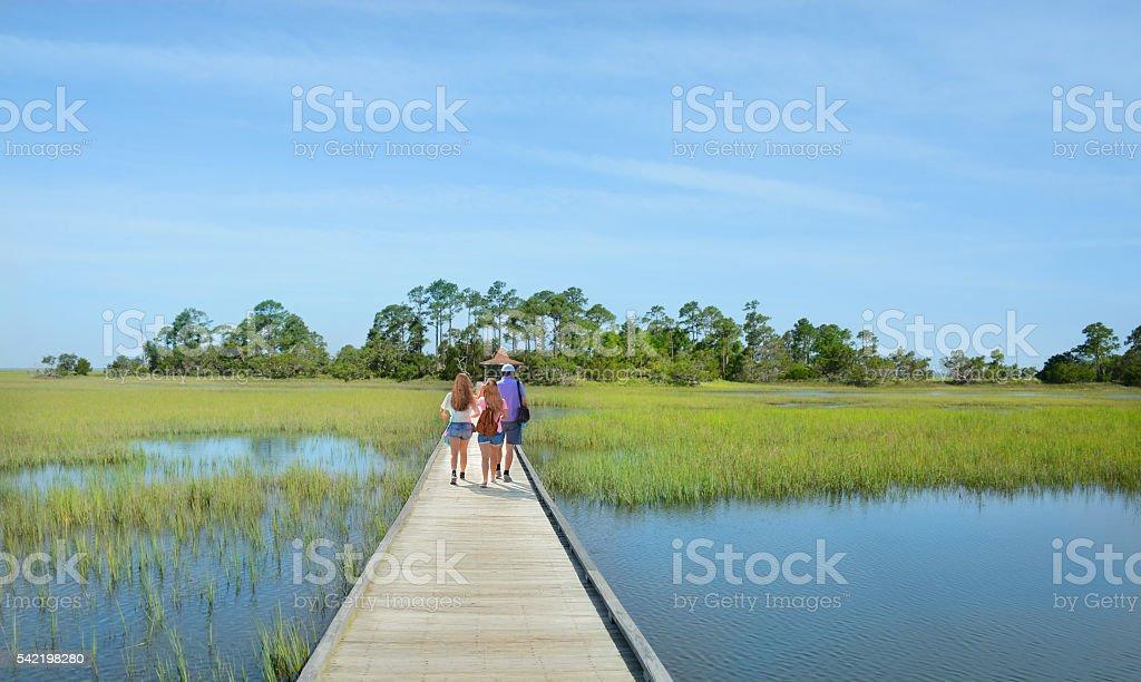 Family hiking on vacation. stock photo