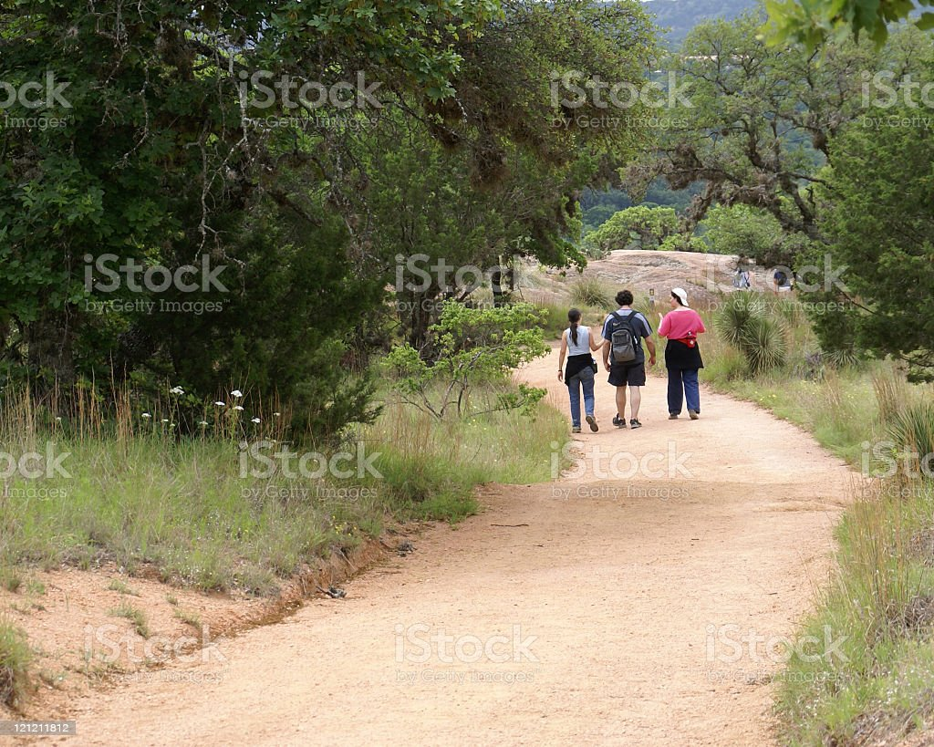 Family hiking stock photo