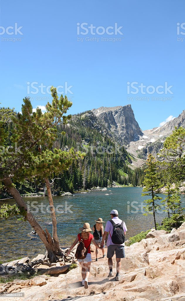 Family hiking trip in Colorado Mountains.. stock photo