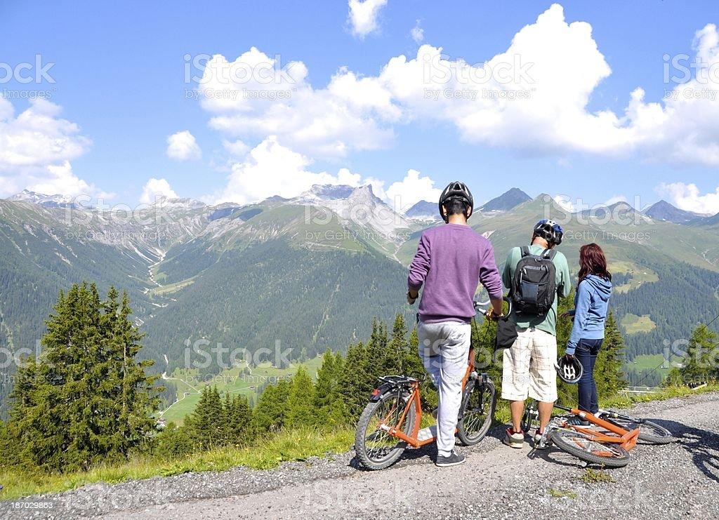 Family Holiday Around Davos Kloster Switzerland stock photo