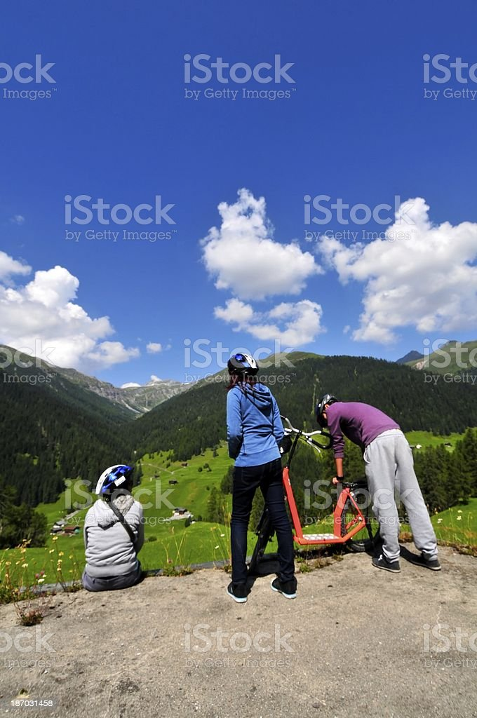 Family Holiday Around Davos Kloster Switzerland royalty-free stock photo