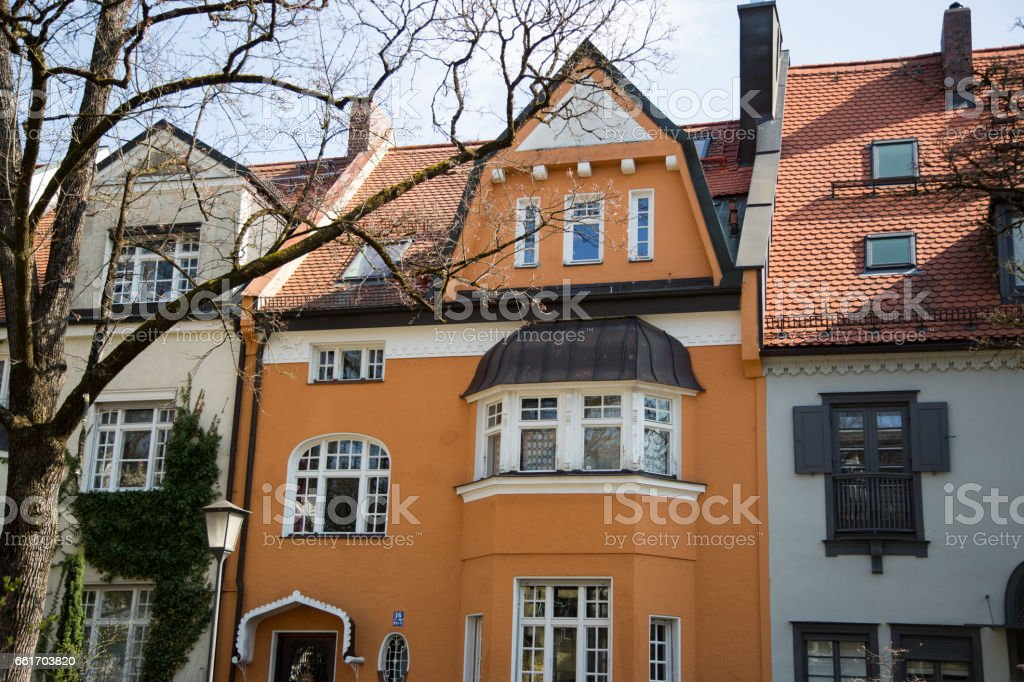 Family houses in Munich stock photo