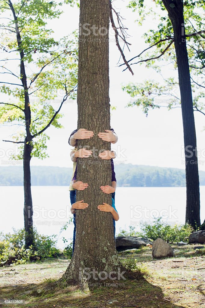 Family hugging tree together in nature stock photo