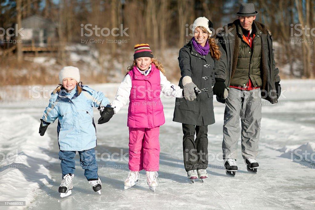 Family Ice Skating royalty-free stock photo