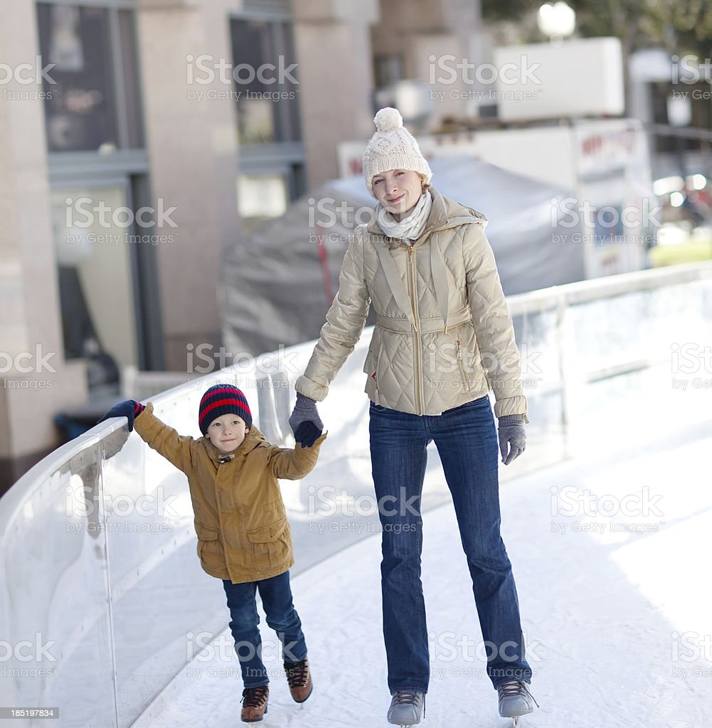 family ice skating royalty-free stock photo