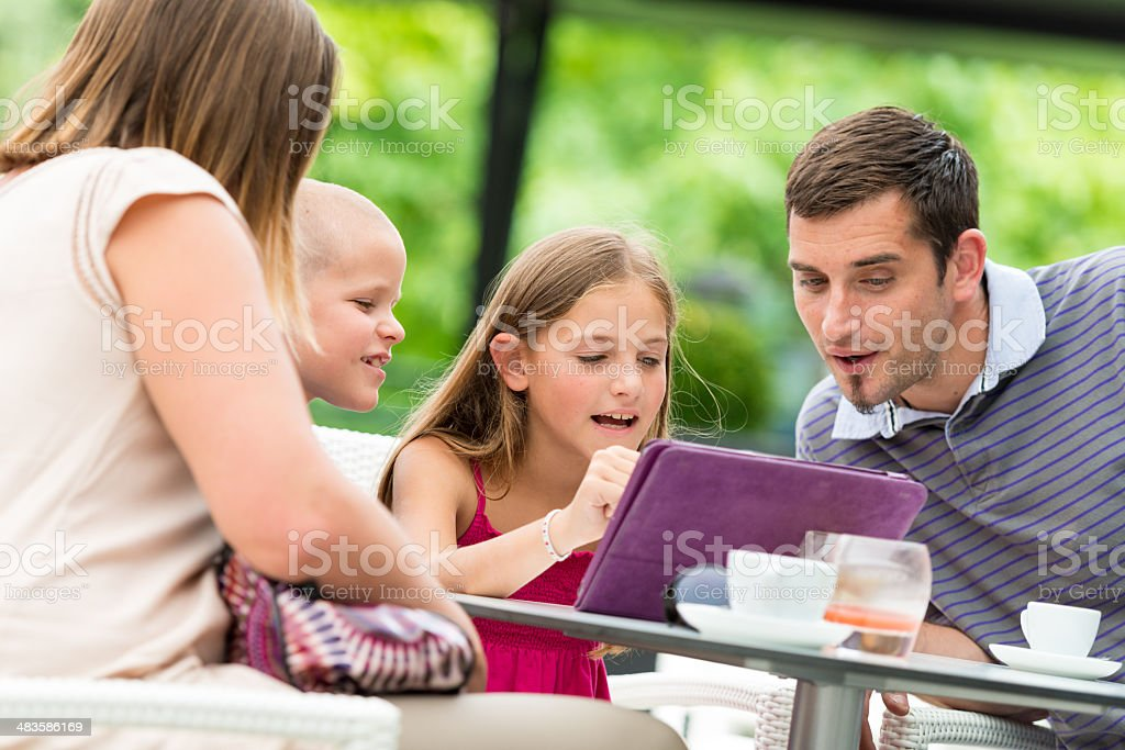 Family in a cafe royalty-free stock photo
